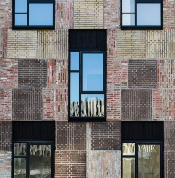 Facade with bricks from the residential project Resouce Rows
